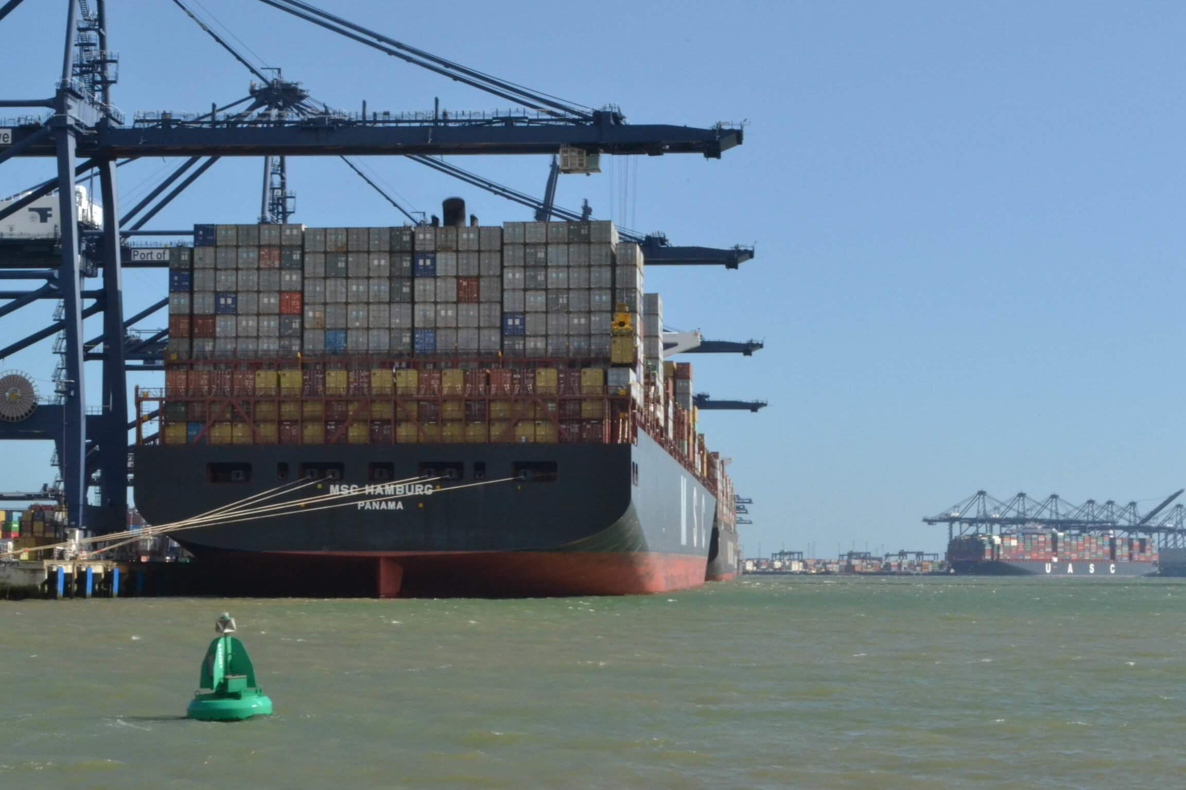 Container ship at Felixstowe port